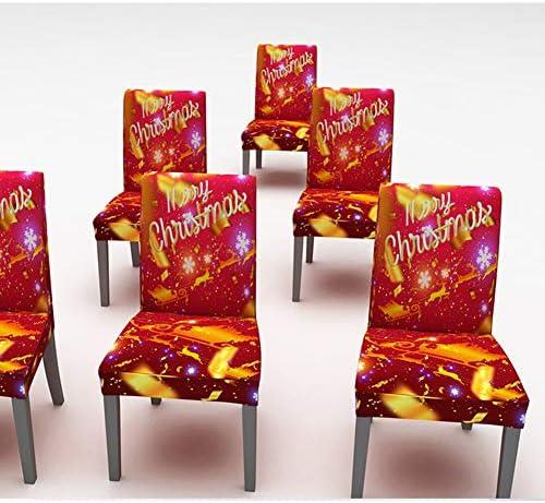 Kersttafelkleed Met 6 Hoezen Voor Eetkamerstoelen, Merry Christmas Red Waterproof Eetkamertafelkleed Stretch Seat Hoes Voor Feestdecoraties,150 * 210cm