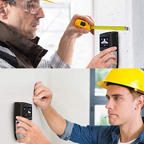 Stud Finder Wall Scanner - Upgrade 5 in 1 Stud Sensor Wall Detector Wood Beam Drywall Joist Pipe Live AC Wire Metal Studs Locator Best Electronic Wall Detector Edge Center Finding with LCD Display