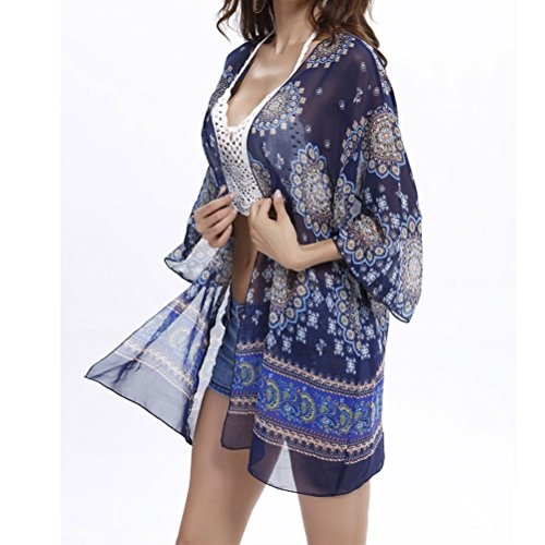Zhhlaixing Moda Summer Sunscreen Blouse Beach Coat Outside Chiffon Coat Outerwear Blue