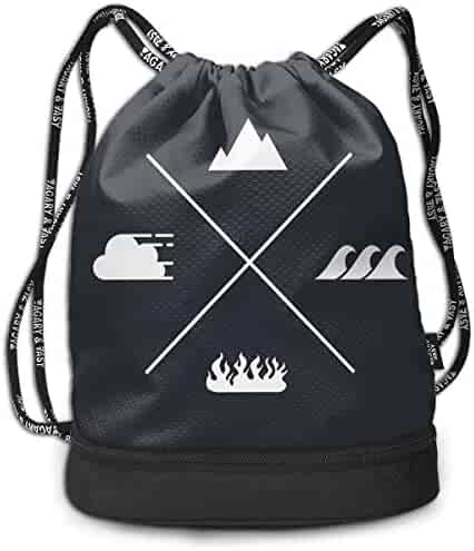 7989563df Create Magic Water Earth Air Fire Drawstring Backpack Sports Athletic Gym  String Bag Cinch Sack Gymsack