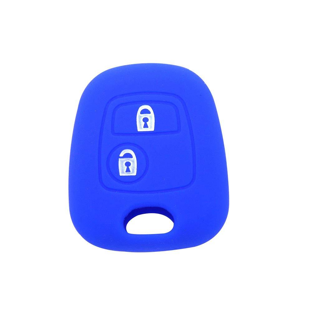 Housse de protection pour clé de voiture YSHTANJ® - 2 boutons en silicone - Pour Peugeot - Rouge