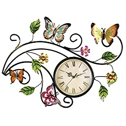 Collections Etc Metal Scrolling Butterfly Wall Clock