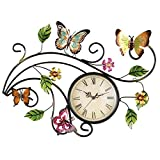 Cheap Collections Etc Metal Scrolling Butterfly Wall Clock