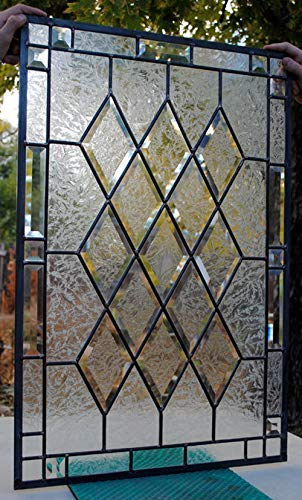 Stained Glass Window Antique Beveled 20 X 30 Panel diamonds privacy - Leaded Beveled Glass