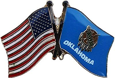 ALBATROS Pack of 6 USA American Oklahoma State Flag Lapel Pin for Bike Hat and Cap for Home and Parades, Official Party, All Weather Indoors Outdoors