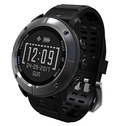 Waterproof GPS Outdoor Smart Watches - aiwako BT4.2 Compass Atimeter SMS Heart rate Monitor Sleep Monitor for iPhone Android - Iron Grey by aiwako