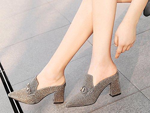 Métallique Haut Femme à Chaussures Maison Talon Loisir Or Sexy Mules Décor Aisun 0wZdX0