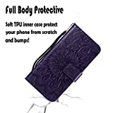 Samsung Note 9 Case,Galaxy Note 9 Wallet Case,Galaxy Note 9 Flip Case PU Leather Emboss Mandala SUN Flower Folio Magnetic Kickstand Cover with Card Slots for Samsung Galaxy Note 9 Purple