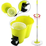 Eight24hours Magic Spin Easy Floor Mop Bucket 2 Head Green 360° Rotating + FREE E-Book