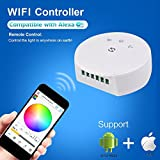 Korjo DC12V 24V Smart WIFI Controller for RGB RGBW Light Strip, Bulbs, LED Downlight Multi Function with APP Remote Control LED WIFI Strip Lights Controller for Android, IOS and Alexa