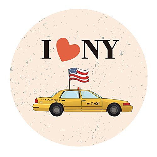 MAGJUCHE New York Themed Stickers, I Love NY Birthday Party Favor Labels, Decorations, NYC, 2 Inch, 40-Pack ()