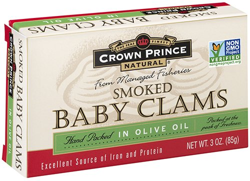 Crown Prince Natural Smoked Baby Clams in Olive Oil, 3-Ounce Cans (Pack of 12) (Baby Clams)