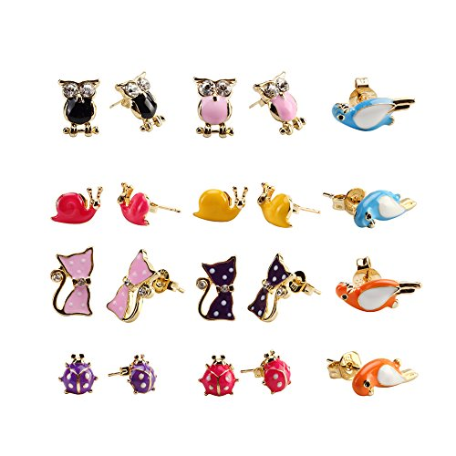 Price comparison product image 10 Pairs 18K Gold Plated Red Pink Purple Black Blue Yellow Cute Cat Ladybug Snail Bird Owl Animal Stud Earrings Set for Kids girls Mix 02