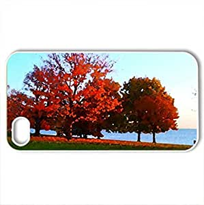 Autumn Trees - Case Cover for iPhone 4 and 4s (Watercolor style, White)