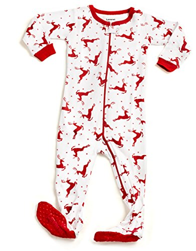 Price comparison product image Leveret Kids White Reindeer Baby Boys Girls Footed Pajamas Sleeper Christmas Pjs 100% Cotton (Size 6-12 Months)