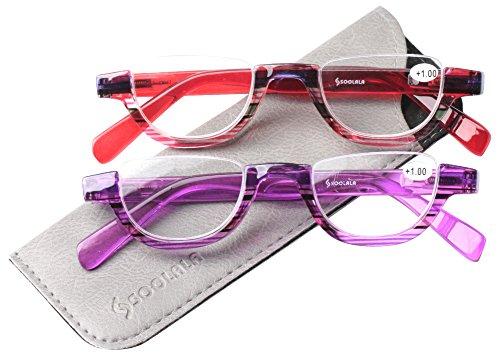 SOOLALA Womens Modern Designer Flat Top 42mm Half Lens Quality Reading Glasses, RedPurple, 2.75 by SOOLALA