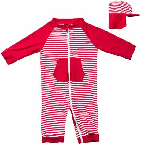 Page One Sun Protection UPF 50+ Baby/Toddler Swimwear,Unisex One Piece Long Sleeve Sunsuit With Baby Sun Hat