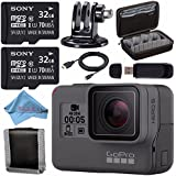 GoPro HERO5 Black CHDHX-501 + Sony 32GB microSDHC Card + Custom GoPro Case for GoPro HERO and GoPro Accessories + Tripod Adapter For GoPro Bundle