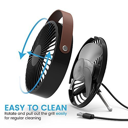 Cambond USB Desk Fan, Small Personal Fan Quiet Office Desktop Fan Easy to Clean Mini Table Fan Powerful Portable Fan with PU Leather Handle for Office Home Work Desk, Small Room, Bedroom, Black by Cambond (Image #5)