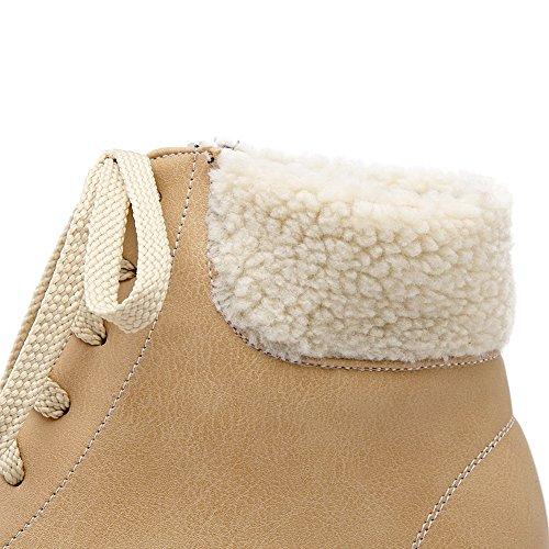 BalaMasa Girls Bandage Fur Collar Platform Imitated Leather Boots Yellow oKzT9Iuc