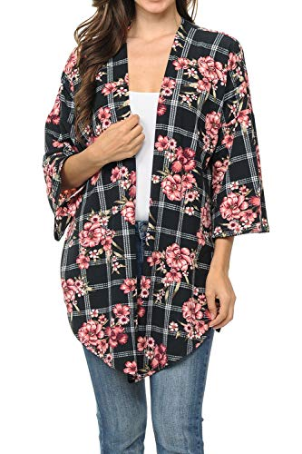 Auliné Collection Womens USA Made Casual Cover Up Cape Gown Robe Cardigan Kimono STSLT1 Grid FL Black XL
