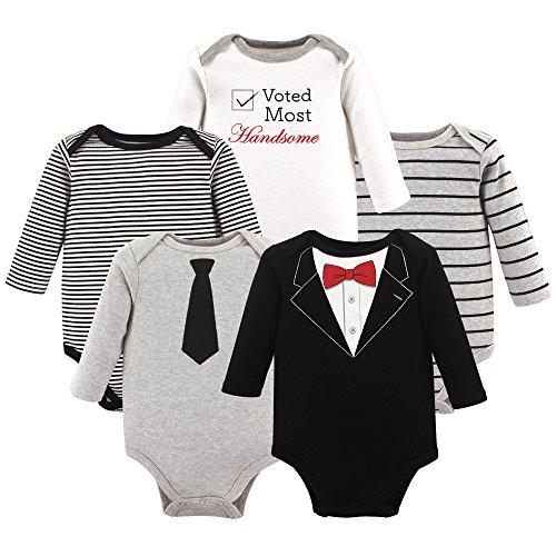 Little Treasure Unisex Baby Cotton Bodysuits, Tuxedo Long Sleeve 5 Pack, 0-3 Months (3M)