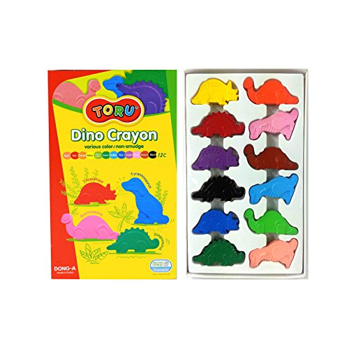 (Dong-a Toru Dino Crayon Non-smudge Enjoyable 4 dinosaur-shaped crayons - 12 colors)