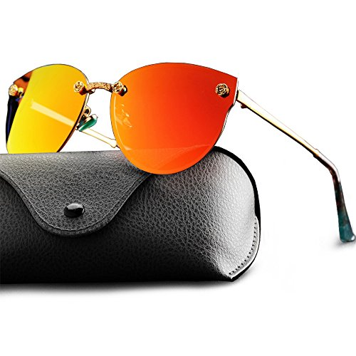 WELUK Fashion Polarized Rimless Cateye Sunglasses Oversized Color Tinted - Orange Mirror Sunglasses