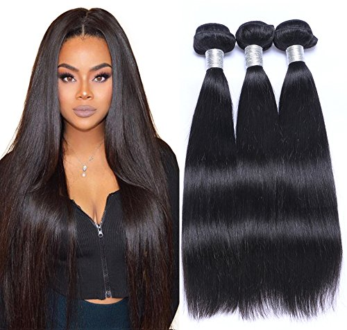 Gali Hair Brazilian Straight Hair Bundles 8A Grade 100% Unprocessed Virgin Human Hair 3 Bundles Weave Natural Color (16 18 20)