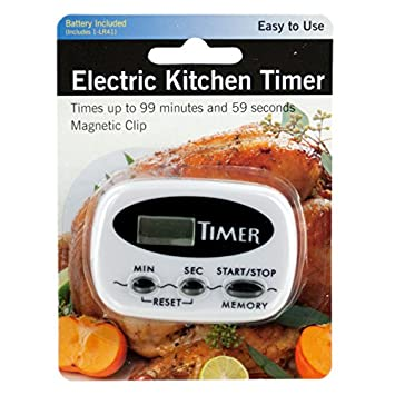 Electric Kitchen Timer With Magnetic Clip   Pack Of 4