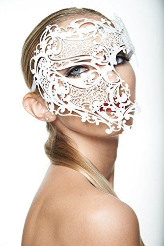 Spellbinding Phantom White Masquerade Mask (Unisex; Clear Rhinestones; (Burlesque Costumes White)