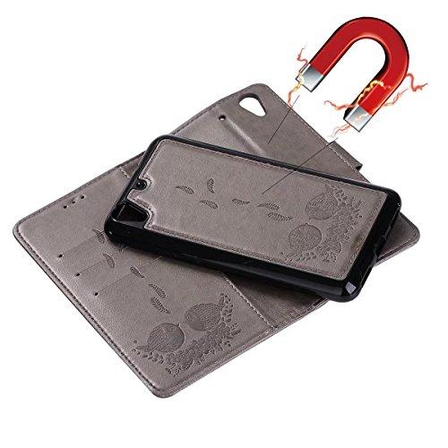 pour Wllet II avec arrière 2ème Gray Bird en et couvercle Huawei Color Pattern cordon Housse Flip Housse Rosegold avec Slots Y6 PU détachable Embossing carte cuir Stand génération Oq8HwxxB6