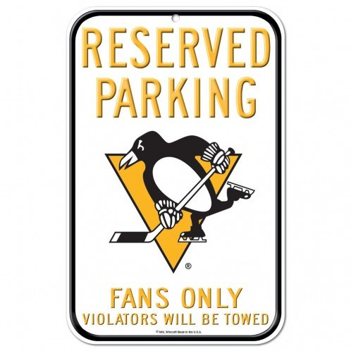 NHL Authentic Reserved Parking Sign, 12 x 18 Inch - Pittsburgh Penguins - White ()