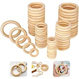 60Pcs Unfinished Wooden Rings for Crafts, 5 Different Sizes Solid Wood Rings for Macrame, DIY Wood Hoops Ornaments and Connec