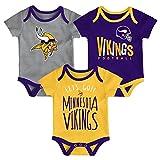 NFL by Outerstuff NFL Minnesota Vikings Newborn & Infant Little Tailgater Short Sleeve Bodysuit Set Regal Purple, 0-3 Months