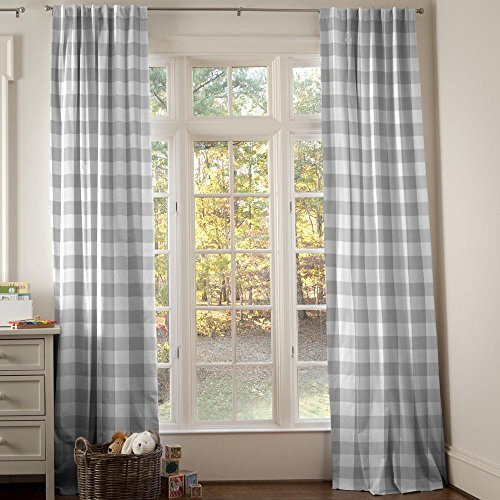 Carousel Designs Gray Buffalo Check Drape Panel 96-Inch Length Standard Lining 42-Inch Width by Carousel Designs