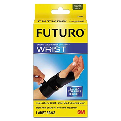 Futuro 48400EN Energizing Wrist Support, S/M, Fits Right Wrists 5 1/2''- 6 3/4'', Black