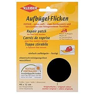 Kleiber - Parche de reparación termoadhesivo, de algodón, 40 x 12 cm, para telas de tejido fino, color negro
