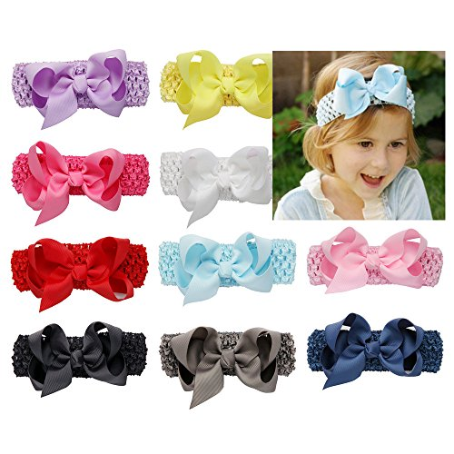 Welandtech Boutique Baby Girls Crochet Headbands and 4 inch Ribbon Hair Bows 10 Pack