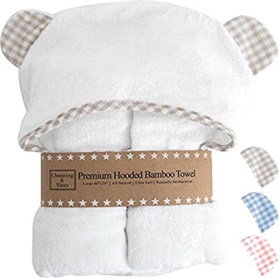 Premium Hooded Baby Towel and Washcloth Set - Choose Beige, Blue, or Pink with White | Organic Bamboo Baby Towels with Hood - 2X as Thick & Soft | Baby Bath Towels with Hood for Boy or Girl
