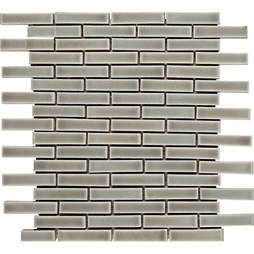 Dove Gray Brick 12 in. x 12 in. x 8 mm Porcelain Mesh-Mounted Mosaic Tile ()