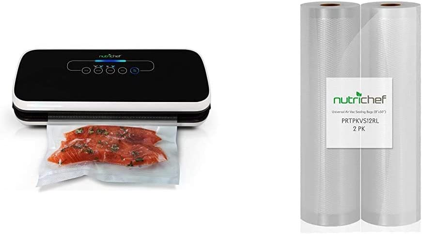 "NutriChef Vacuum Sealer | Automatic Vacuum Air Sealing System For Food Preservation w/Starter Kit & Premium (2) Vacuum Sealer Bags-8"" Wx50'L, and Other Brands, One Size, 8""x50' Rolls (2-Pack)"