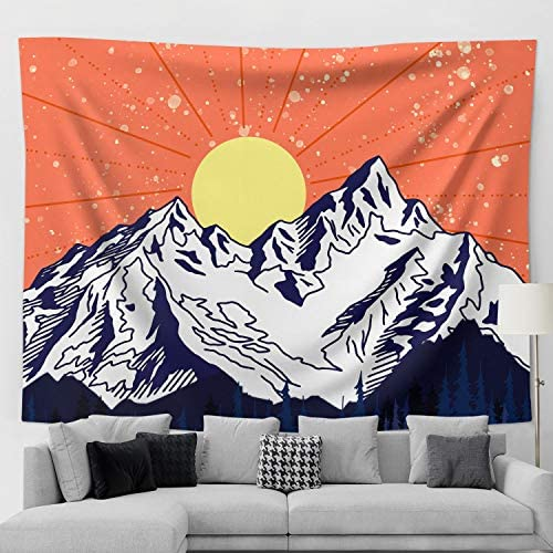 Funeon Mountain Tapestry Nature Forest Dorm Tapestry Wall Hanging for Teen Boy Girls Room Decoration Cool Sunset Landscape College Tapestries Indie Bedroom Wall Decor for Men Aesthetic 70×90 inch