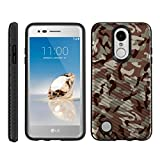TurtleArmor | Compatible for LG Fortune Case | Phoenix 3 Case | K4 2017 Case | Risio 2 Case | Slim Hybrid Engraved Grooves Hard Shell TPU Dual Layer Case Cool Designs - Army Camouflage