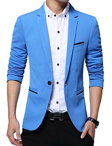 DAVID.ANN Men's Slim Fit Suits Casual One Button Flap Pockets Solid Blazer Jacket,Sky Blue,Medium