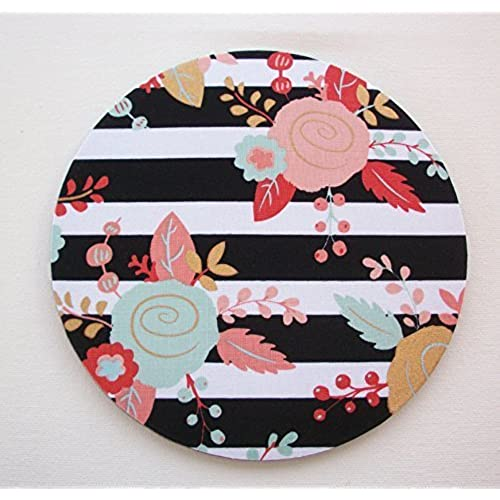 Mouse Pad Mouse Pad / Mat   Black And White Stripes Metallic Gold Flowers    Round   Office Accessories Desk Home Decor