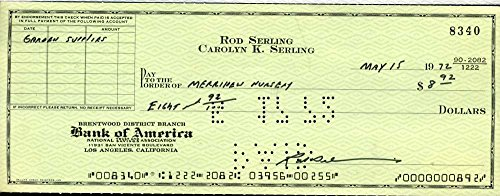 ROD SERLING TWILIGHT ZONE JSA CERT HAND SIGNED CHECK AUTHENTIC AUTOGRAPH