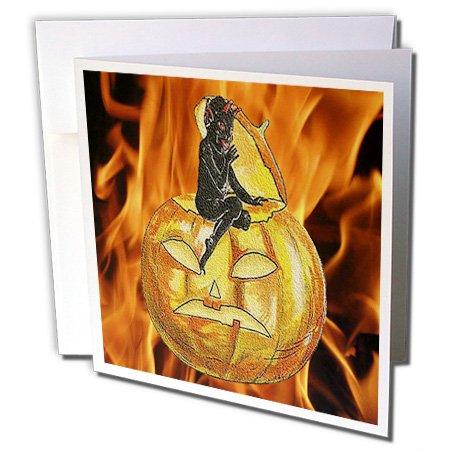 3dRose Sandy Mertens Vintage Halloween Designs - Devil on Jack o Lantern with Modern Flames Background - 1 Greeting Card with envelope (gc_53710_5)