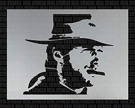 Meubles Pochoirs R/éutilisables S// 17X19CM Clint Eastwood Portrait Pochoir Artisanat DArt de D/écoration pour la Maison Pochoir//Mod/èle Diff/érentes Tailles Peinture Toile Art Murs Tissus