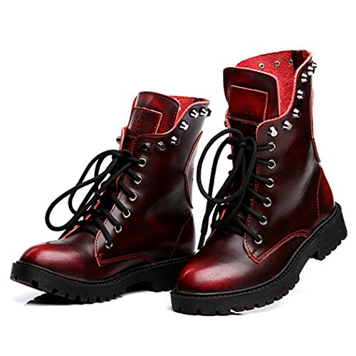 Price comparison product image Autumn Melody Retro Women Martin Boots British Style Personalized Rivet Short Boots Size 6.5 US Red